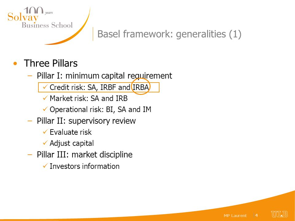 MP Laurent |4|4 Basel framework: generalities (1) Three Pillars –Pillar I: minimum capital requirement Credit risk: SA, IRBF and IRBA Market risk: SA and IRB Operational risk: BI, SA and IM –Pillar II: supervisory review Evaluate risk Adjust capital –Pillar III: market discipline Investors information