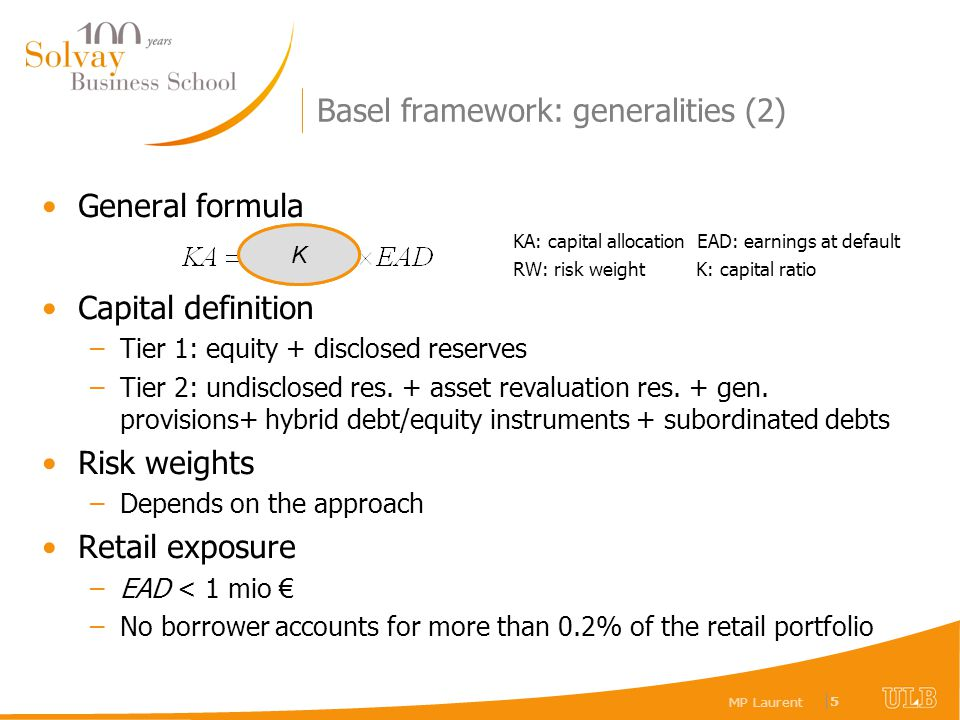 MP Laurent |5|5 Basel framework: generalities (2) General formula KA: capital allocation EAD: earnings at default RW: risk weight K: capital ratio Cap