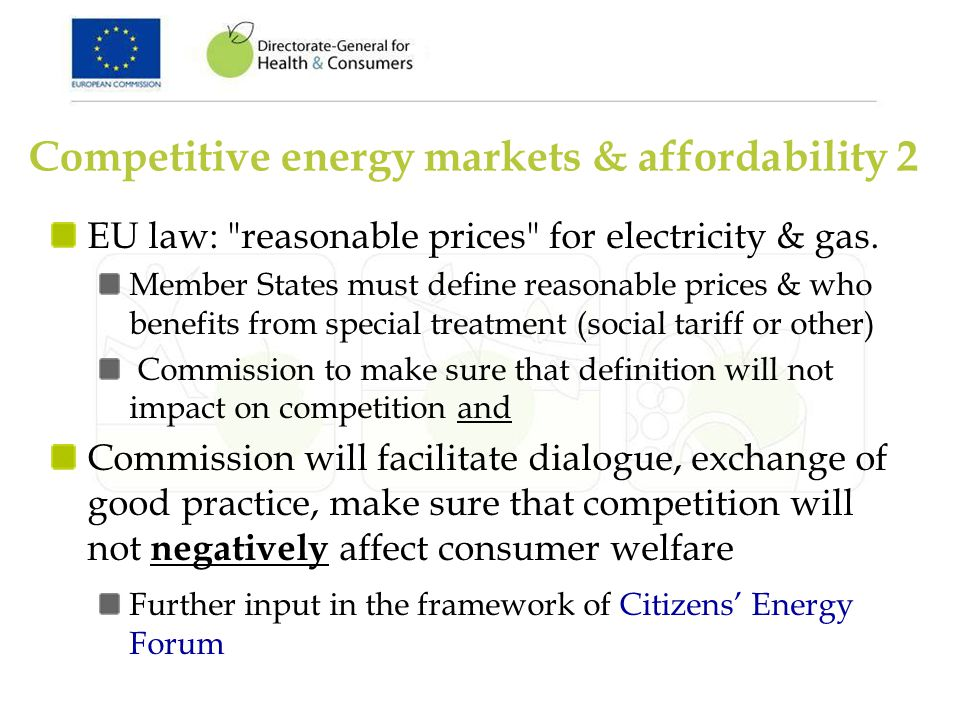 EU law: reasonable prices for electricity & gas.