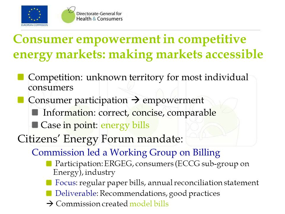 Consumer empowerment in competitive energy markets: making markets accessible Competition: unknown territory for most individual consumers Consumer participation empowerment Information: correct, concise, comparable Case in point: energy bills Citizens Energy Forum mandate: Commission led a Working Group on Billing Participation: ERGEG, consumers (ECCG sub-group on Energy), industry Focus: regular paper bills, annual reconciliation statement Deliverable: Recommendations, good practices Commission created model bills