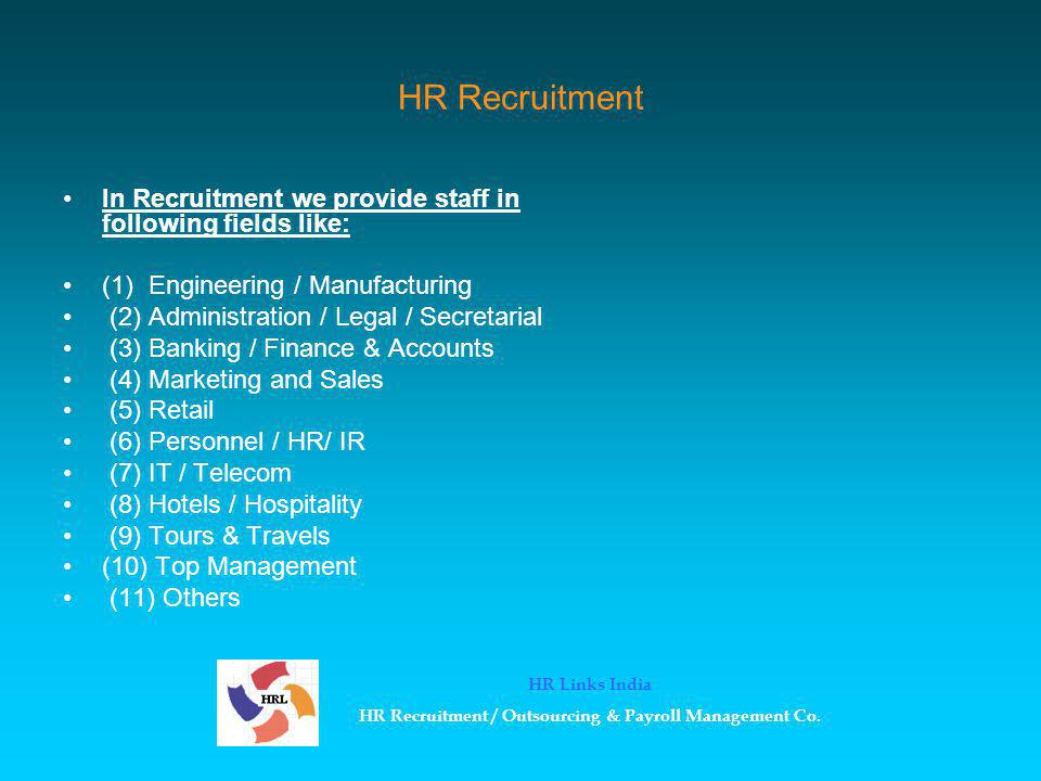 Registrations & Renewals New Registrations & Yearly Renewals Registration/Licenses/NOC, etc Documentation, Submission & Liaison Follow-up & obtainment of certificates HR Links India HR Recruitment / Outsourcing & Payroll Management Co.