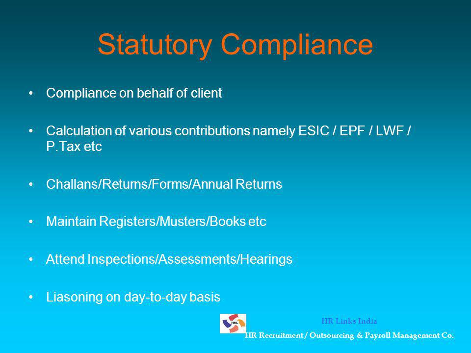 Compliance Audit Audit Qtly & Yearly Compliance Co-ordinate with in-house employees Ensure Timely & Correct Compliance Report Discrepancy & rectify the same Monthly Audits followed by reports Audit Vendors/Contractors etc Audits Yearly/Quarterly/Monthly as req.