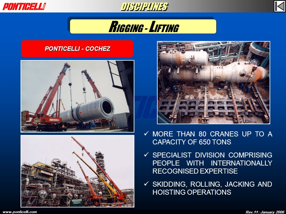 Rev.11 : January 2006 www.ponticelli.com MORE THAN 80 CRANES UP TO A CAPACITY OF 650 TONS SPECIALIST DIVISION COMPRISING PEOPLE WITH INTERNATIONALLY RECOGNISED EXPERTISE SKIDDING, ROLLING, JACKING AND HOISTING OPERATIONS PONTICELLI - COCHEZ R IGGING - L IFTING DISCIPLINES