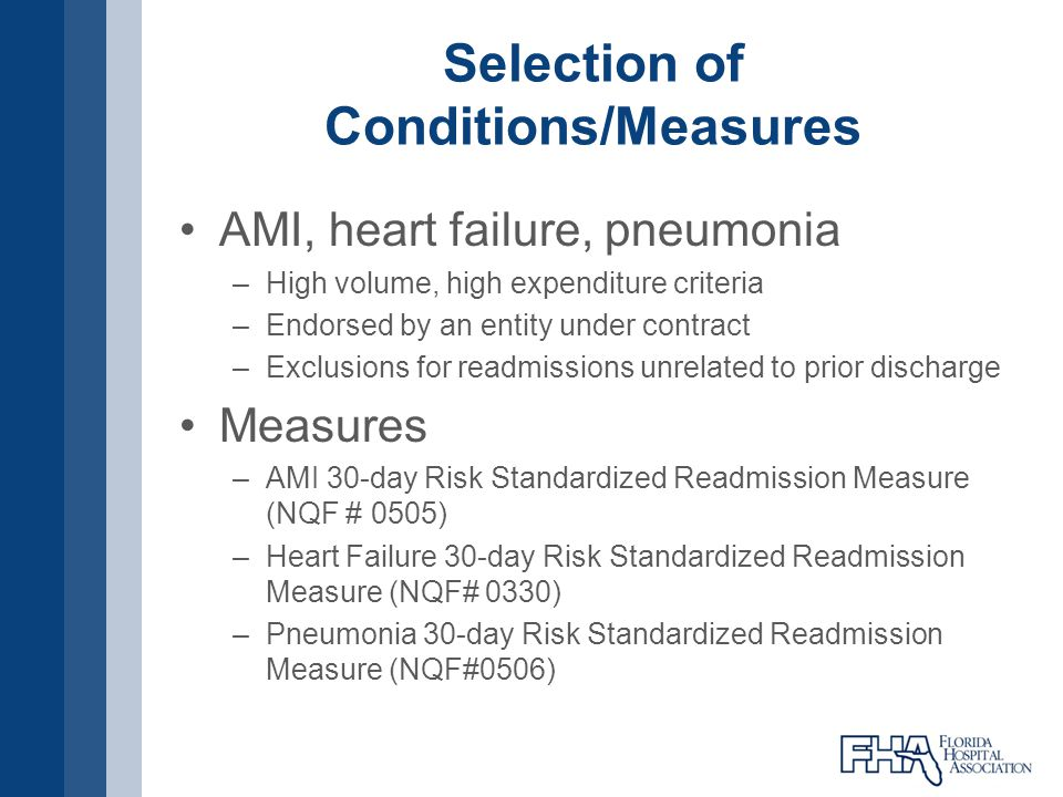Selection of Conditions/Measures AMI, heart failure, pneumonia –High volume, high expenditure criteria –Endorsed by an entity under contract –Exclusio