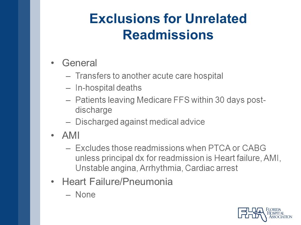 Exclusions for Unrelated Readmissions General –Transfers to another acute care hospital –In-hospital deaths –Patients leaving Medicare FFS within 30 d