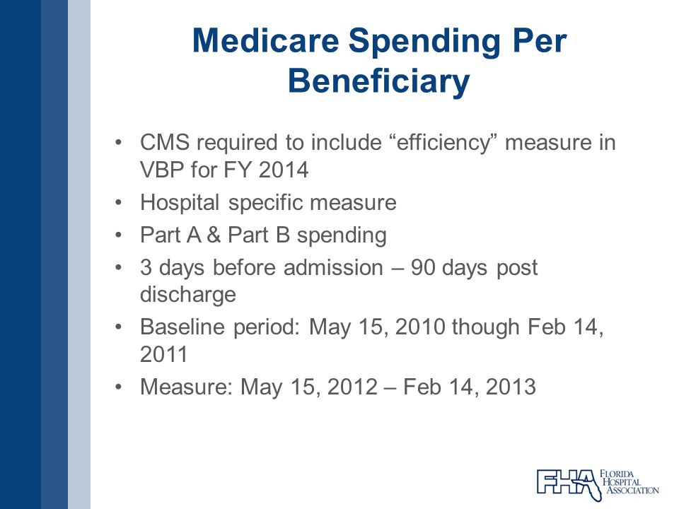 Medicare Spending Per Beneficiary CMS required to include efficiency measure in VBP for FY 2014 Hospital specific measure Part A & Part B spending 3 d