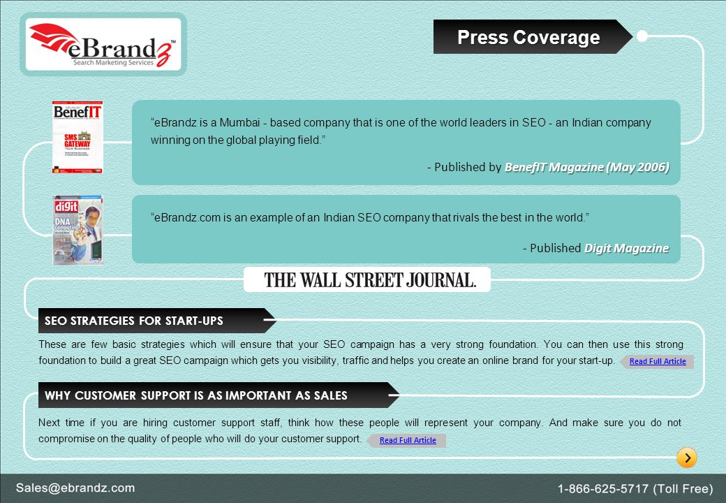 Press Coverage eBrandz is a Mumbai - based company that is one of the world leaders in SEO - an Indian company winning on the global playing field.