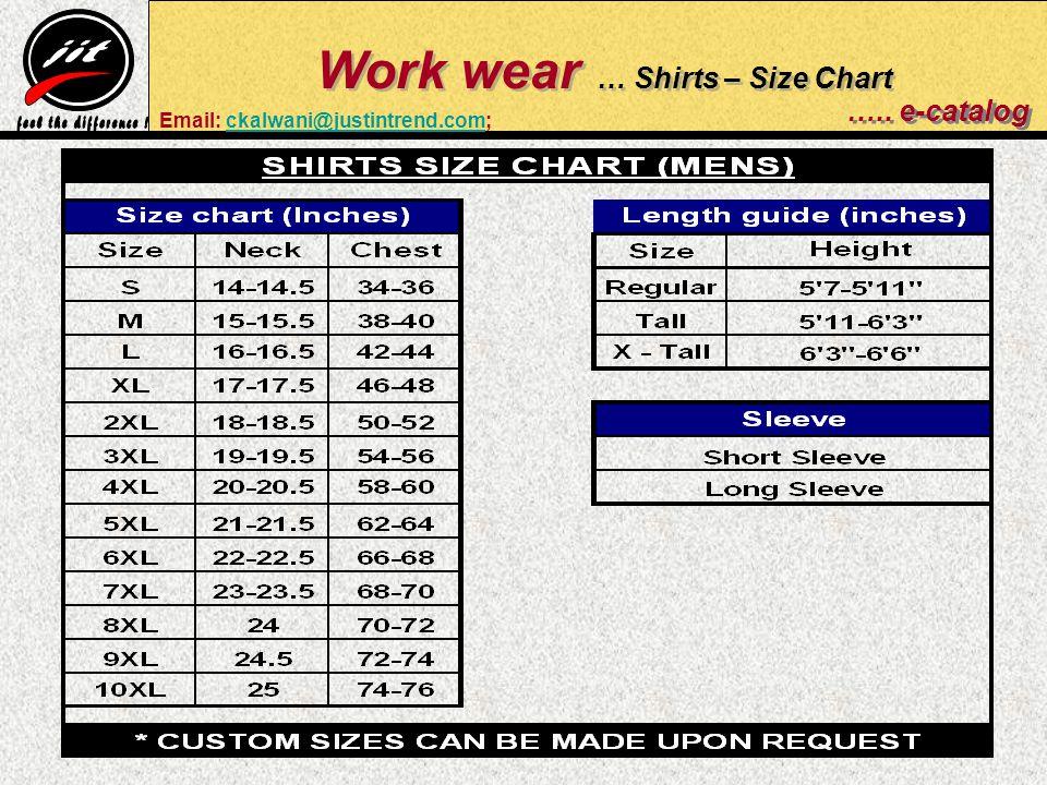 Work wear … Shirts – Size Chart …..