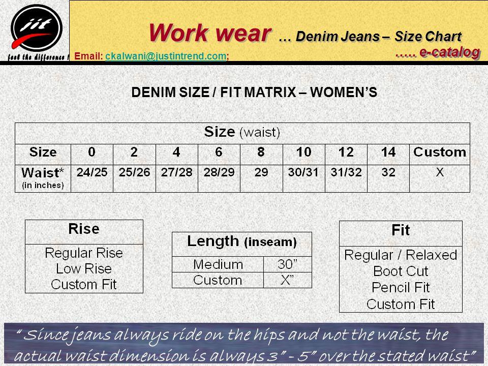 Work wear … Denim Jeans – Size Chart …..