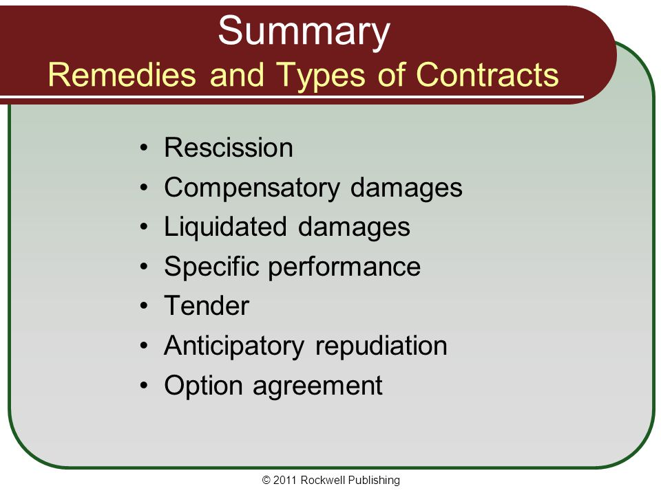 © 2011 Rockwell Publishing Rescission Compensatory damages Liquidated damages Specific performance Tender Anticipatory repudiation Option agreement Su