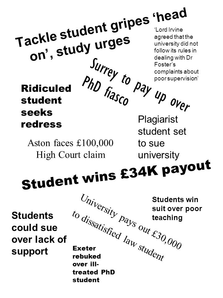 Tackle student gripes head on, study urges Ridiculed student seeks redress Surrey to pay up over PhD fiasco Plagiarist student set to sue university Aston faces £100,000 High Court claim Student wins £34K payout Students win suit over poor teaching University pays out £30,000 to dissatisfied law student Students could sue over lack of support Exeter rebuked over ill- treated PhD student Lord Irvine agreed that the university did not follow its rules in dealing with Dr Fosters complaints about poor supervision