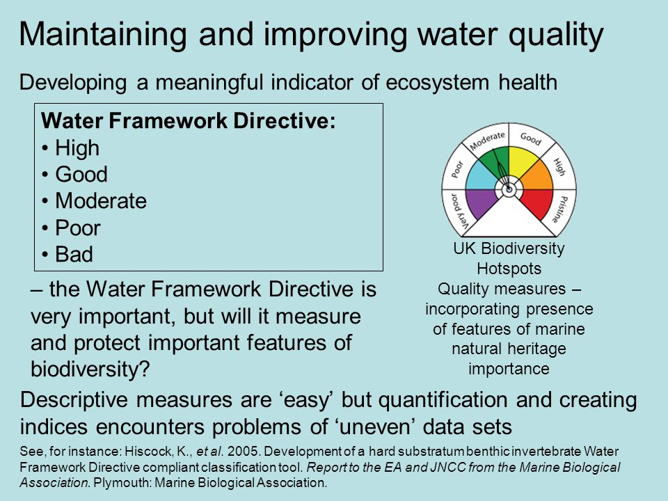 Developing a meaningful indicator of ecosystem health UK Biodiversity Hotspots Quality measures – incorporating presence of features of marine natural