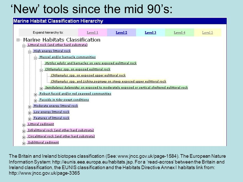 New tools since the mid 90s: The Britain and Ireland biotopes classification (See: www.jncc.gov.uk/page-1584). The European Nature Information System: