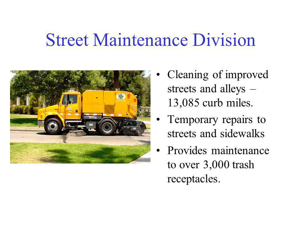 Street Maintenance Division Cleaning of improved streets and alleys – 13,085 curb miles.