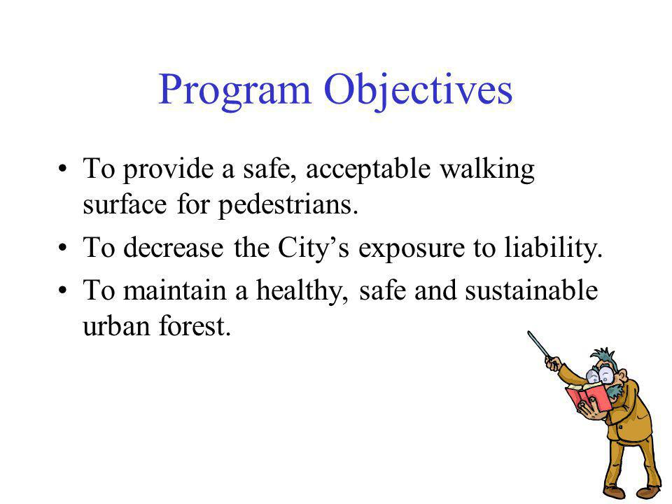 Program Objectives To provide a safe, acceptable walking surface for pedestrians.