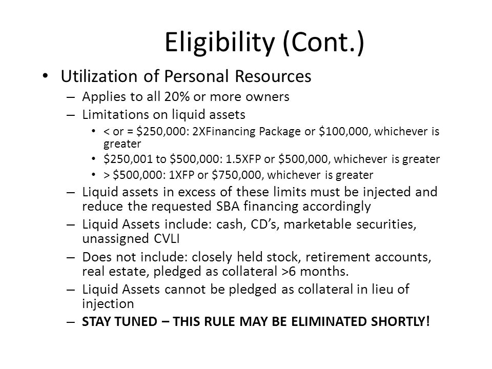 Eligible Passive Company Formerly Alter Ego Rule Exception to Restriction on Passive Concerns Operating Company Must be Ultimate Beneficiary of the Financial Assistance EPC Rule No Longer Requires Commonality of Ownership Between the Passive and Operating Companies EPC Must Use Loan Proceeds to Acquire or Lease, and/or Improve or Renovate Real or Personal Property that It Leases to the Operating Company EPC and OC Must Meet Size Standards Lease Must Be In Writing Term of lease must at least equal term of loan Assignment of rents required