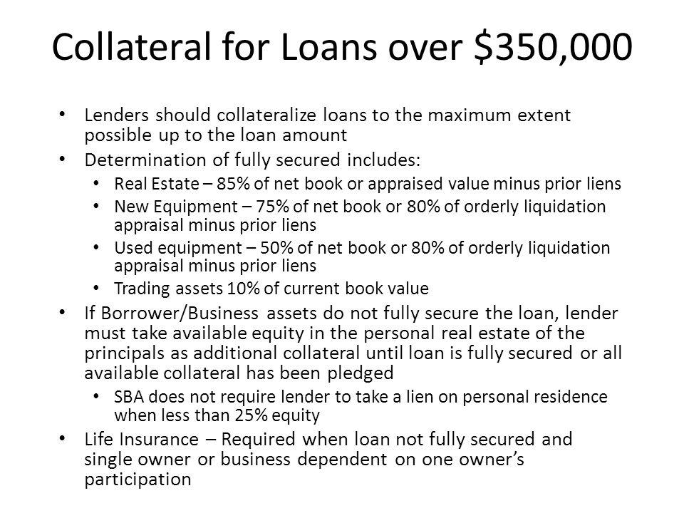 Maximum % of SBA Guaranty 7(a) Term Loans & Caplines – 85% on loans up to $150,000.