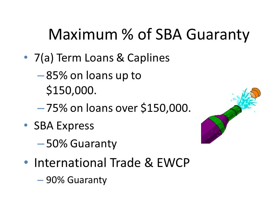 Maximum Loan Amount 7(a) Term Loans & Caplines – SBA combined exposure is limited to maximum of $3,750,000.
