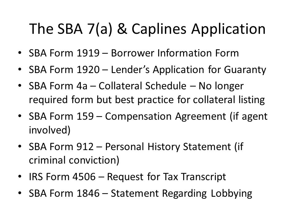 SBA Express Reduced SBA Guaranty of 50% Bank uses own documentation and underwriting process Can charge fees reasonable and customary for conventional loans of same size and type Can use for revolving lines of credit