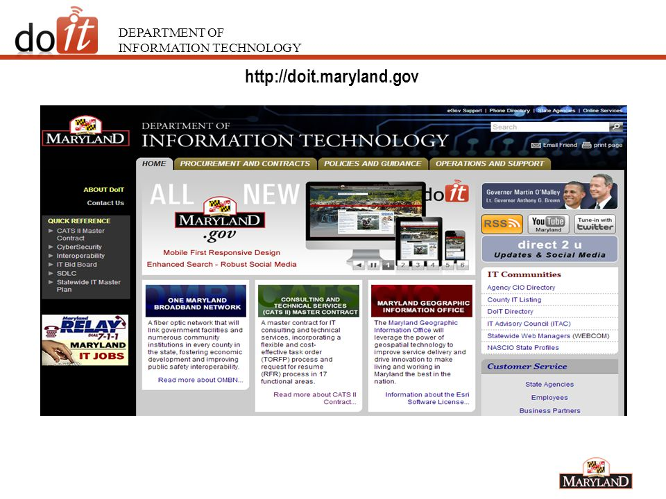 DEPARTMENT OF INFORMATION TECHNOLOGY Organization IT Contracting http://doit.maryland.gov