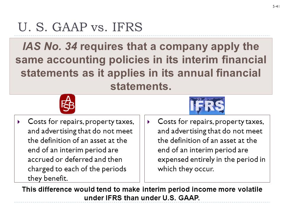 5-41 U. S. GAAP vs. IFRS Costs for repairs, property taxes, and advertising that do not meet the definition of an asset at the end of an interim perio