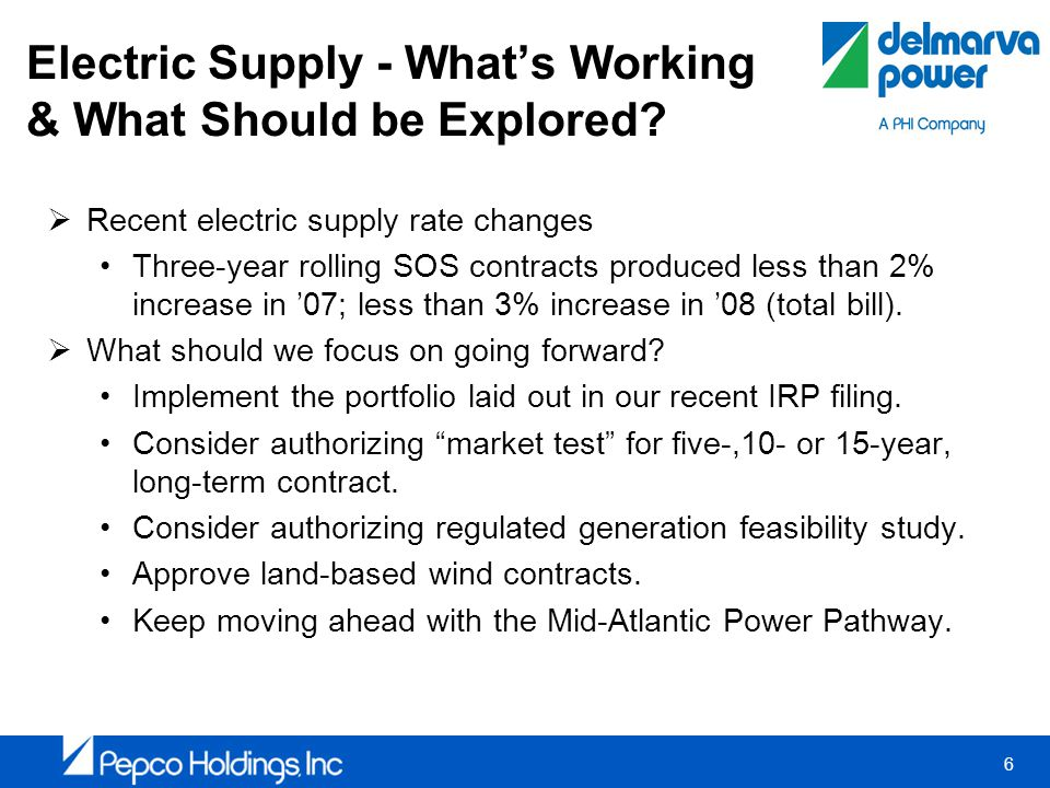 6 Electric Supply - Whats Working & What Should be Explored.