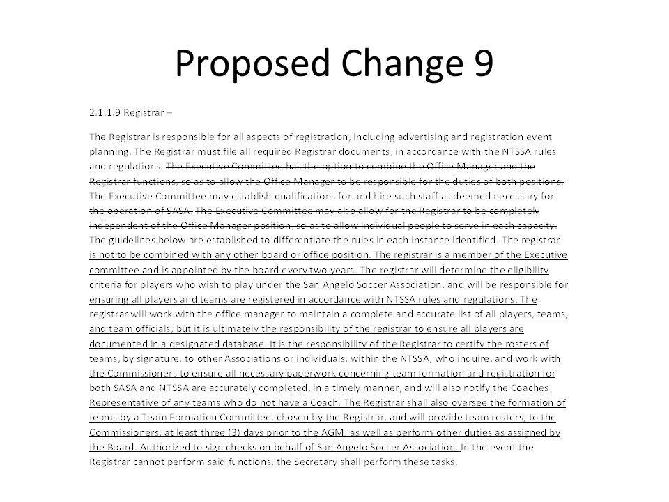 Proposed Change 9