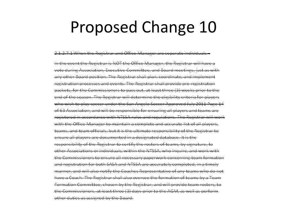 Proposed Change 10