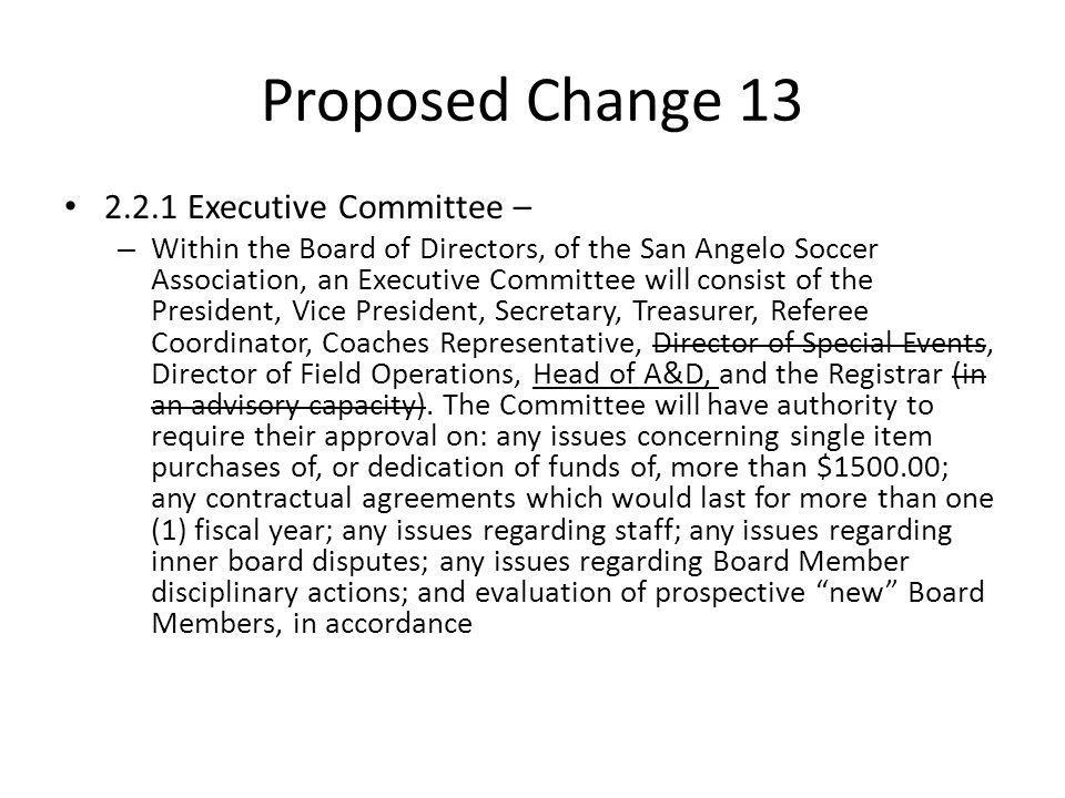Proposed Change 13 2.2.1 Executive Committee – – Within the Board of Directors, of the San Angelo Soccer Association, an Executive Committee will cons