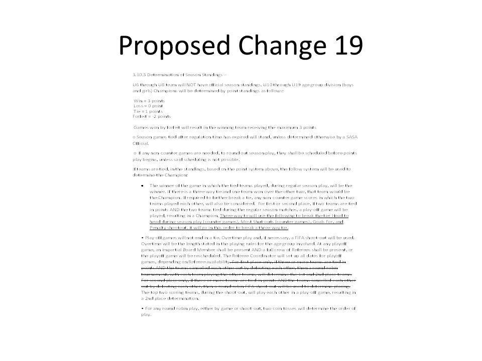 Proposed Change 19