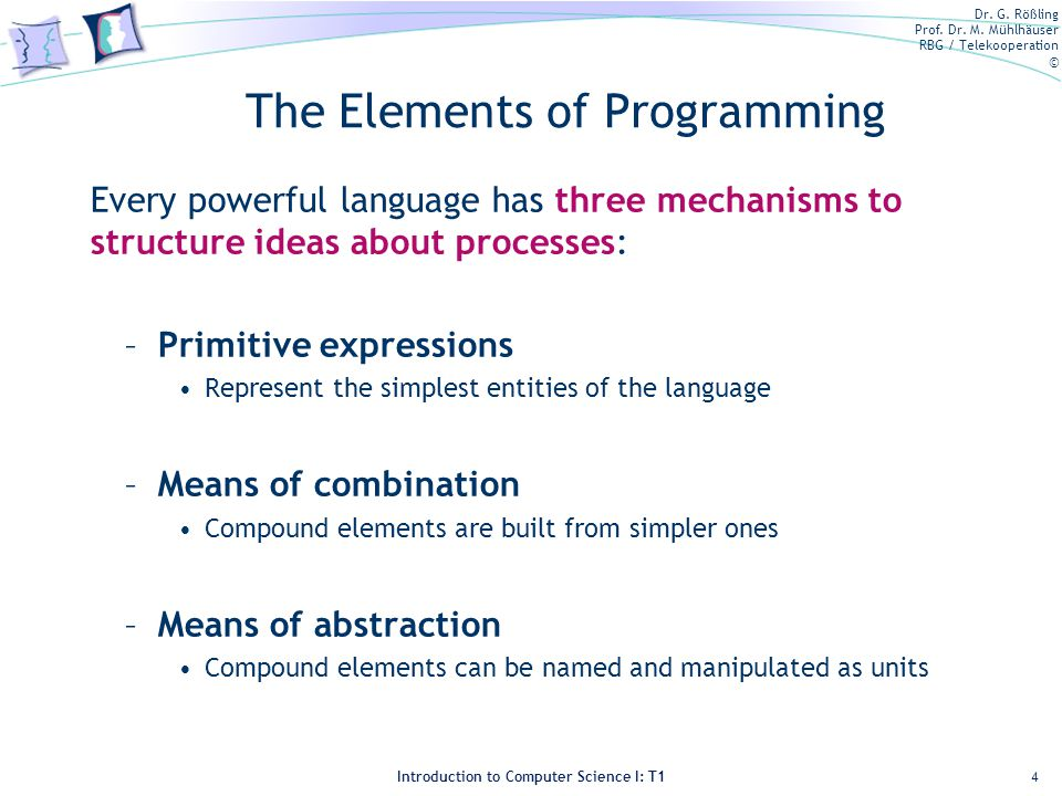 Dr. G. Rößling Prof. Dr. M. Mühlhäuser RBG / Telekooperation © Introduction to Computer Science I: T1 The Elements of Programming Every powerful langu