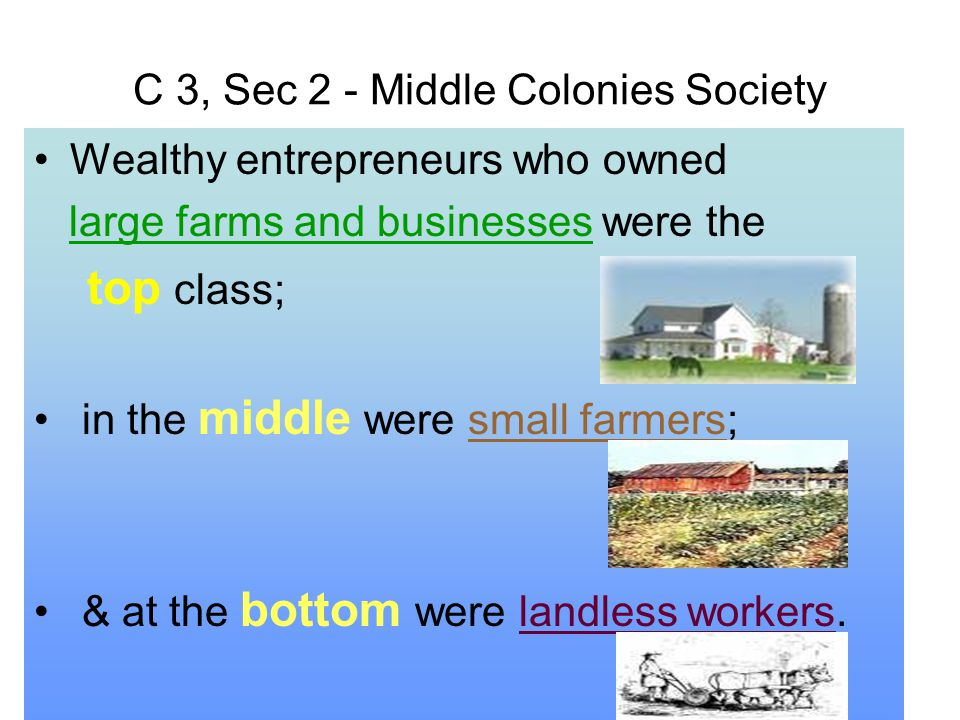 C 3, Sec 2 - Middle Colonies Society Wealthy entrepreneurs who owned large farms and businesses were the top class; in the middle were small farmers;