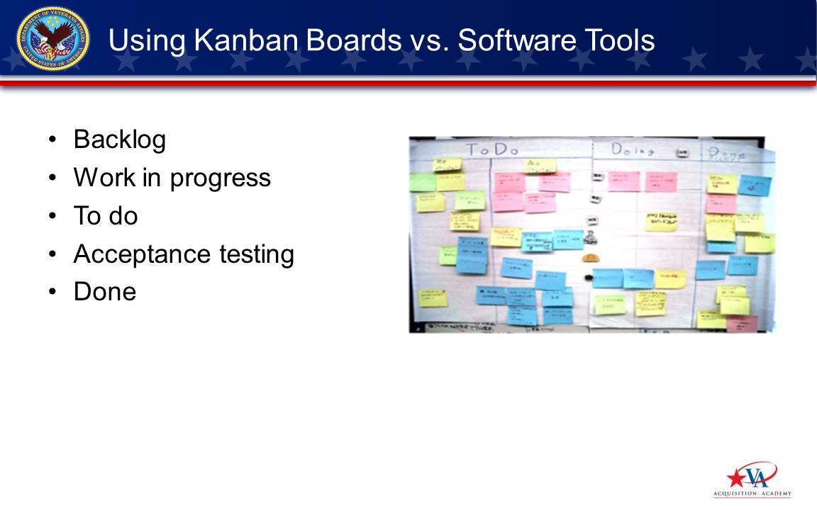 Backlog Work in progress To do Acceptance testing Done Using Kanban Boards vs. Software Tools