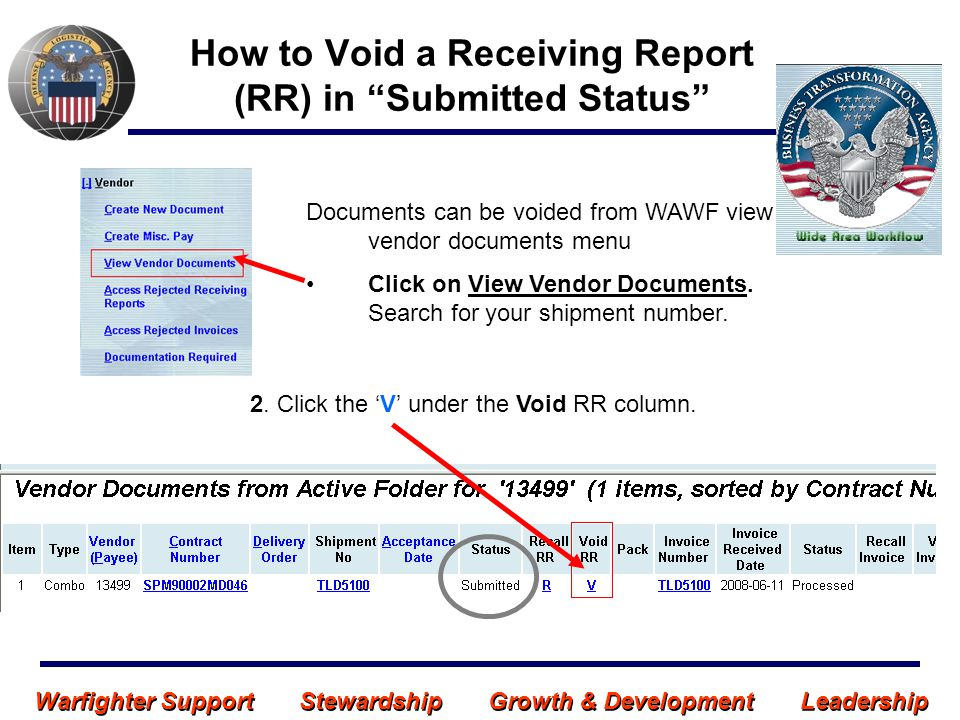 Warfighter Support Stewardship Growth & Development Leadership VOID - RR in Submitted Status (continued) 3.