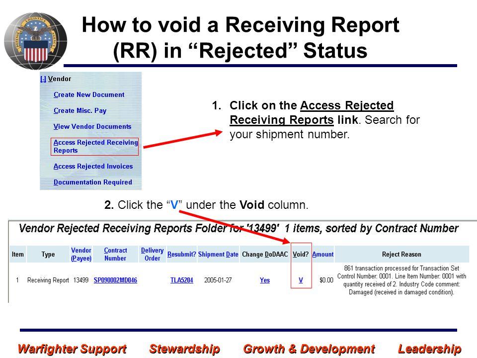 Warfighter Support Stewardship Growth & Development Leadership VOID - RR in Rejected Status 3.
