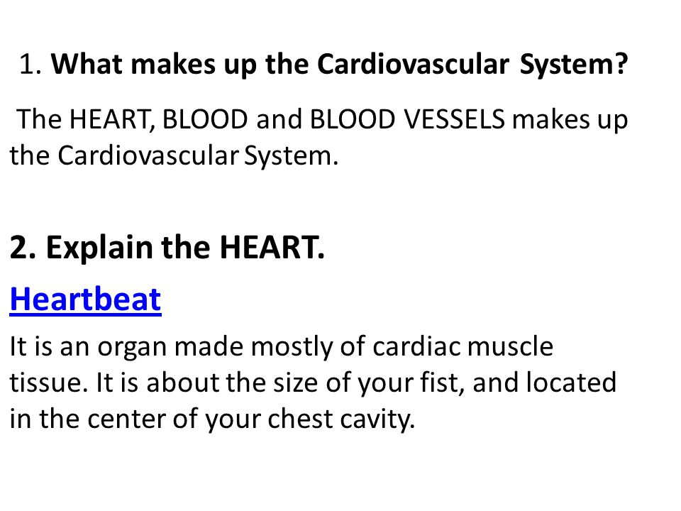 1.What makes up the Cardiovascular System.
