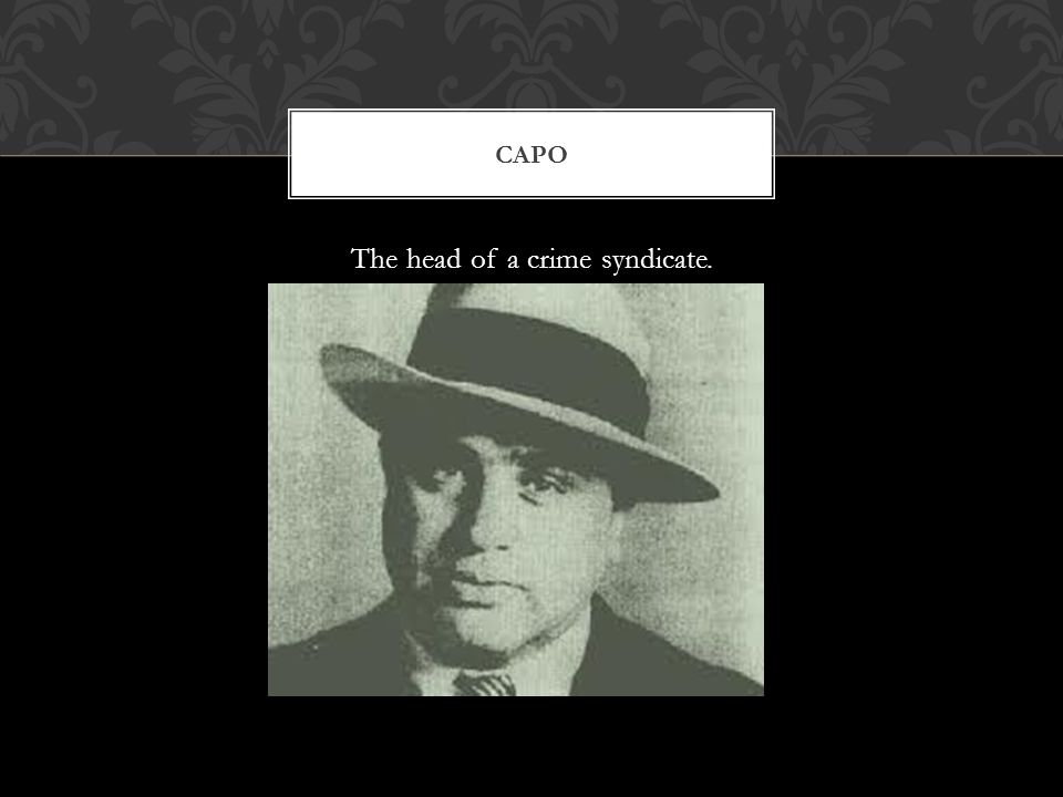 The head of a crime syndicate. CAPO