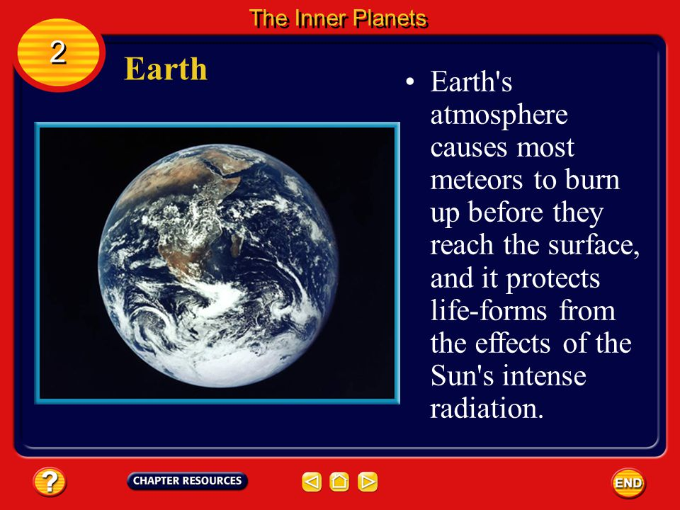 Earth Earth is the third planet from the sun. 2 2 The Inner Planets Unlike other planets, Earth has abundant liquid water and supports life.