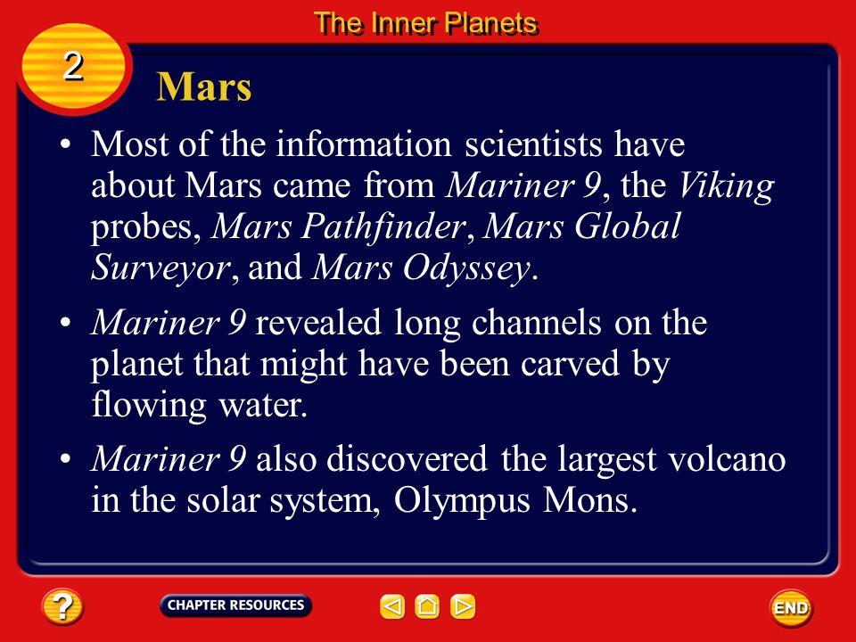 Mars Other features visible from Earth are Mars's polar ice caps and changes in the coloring of the planets surface. 2 2 The Inner Planets The ice cap