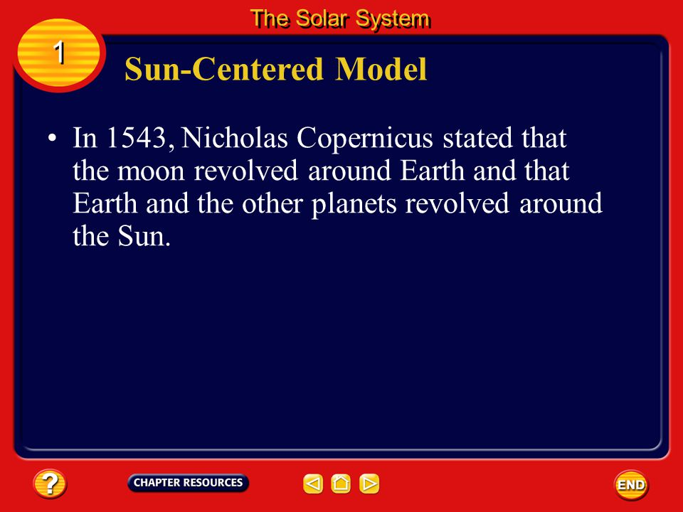 The stars were thought to be in another sphere that also rotated around Earth. 1 1 The Solar System This is called the Earth-centered model of the sol