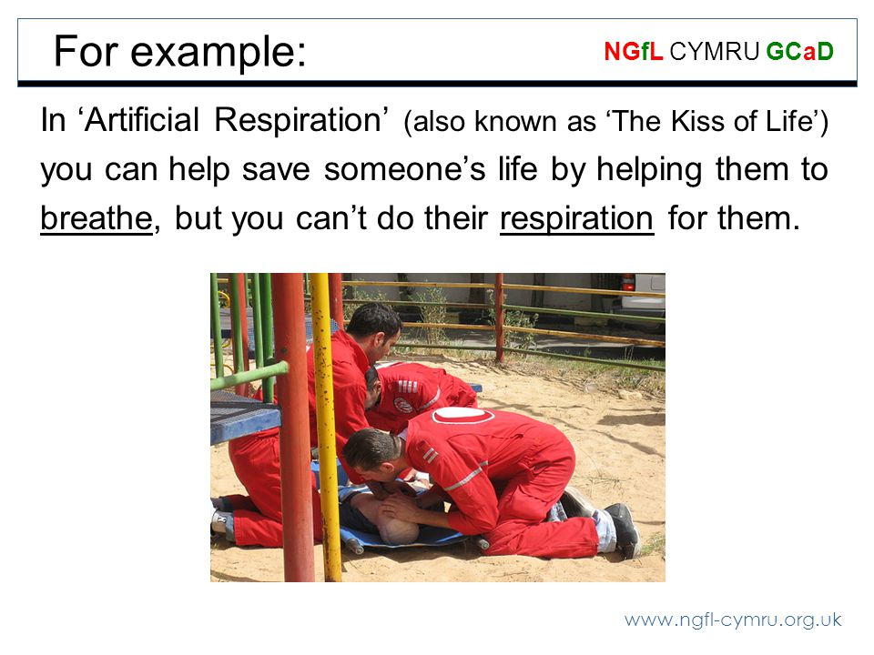 www.ngfl-cymru.org.uk NGfL CYMRU GCaD For example: In Artificial Respiration (also known as The Kiss of Life) you can help save someones life by helping them to breathe, but you cant do their respiration for them.