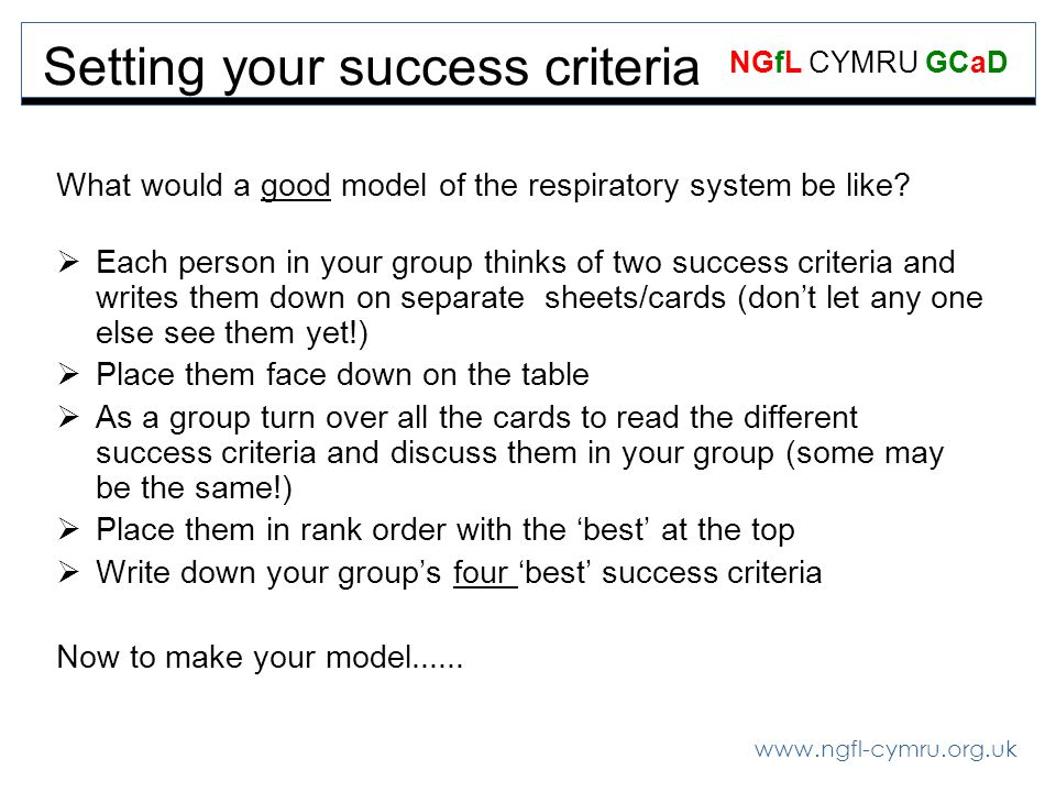 www.ngfl-cymru.org.uk NGfL CYMRU GCaD Setting your success criteria What would a good model of the respiratory system be like? Each person in your gro