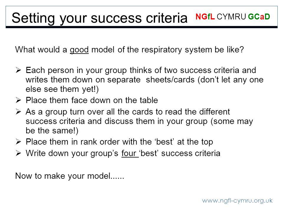 www.ngfl-cymru.org.uk NGfL CYMRU GCaD Setting your success criteria What would a good model of the respiratory system be like.