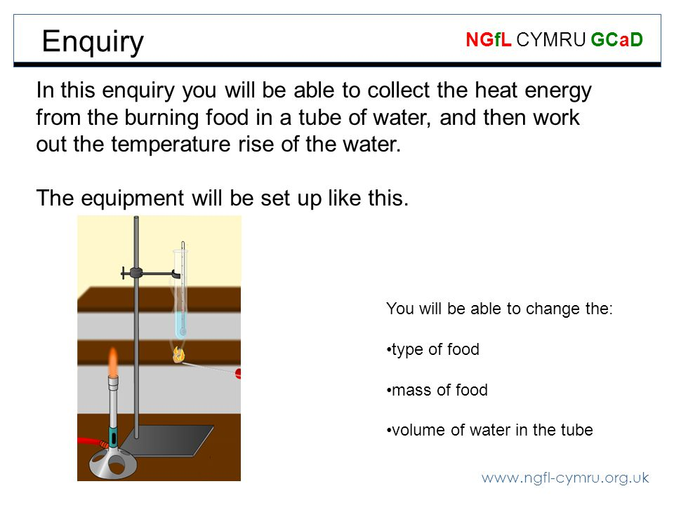 www.ngfl-cymru.org.uk NGfL CYMRU GCaD In this enquiry you will be able to collect the heat energy from the burning food in a tube of water, and then work out the temperature rise of the water.