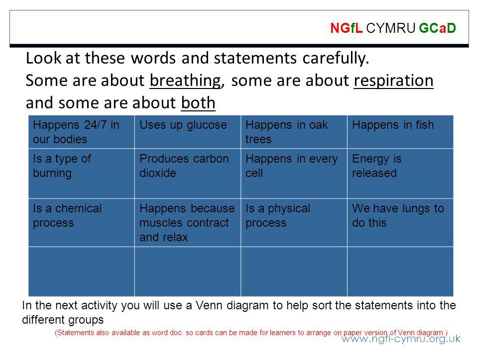 www.ngfl-cymru.org.uk NGfL CYMRU GCaD Look at these words and statements carefully.