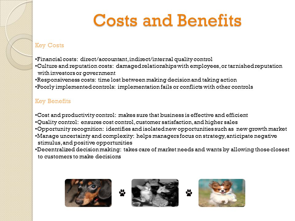 Costs and Benefits Key Costs Financial costs: direct/accountant, indirect/internal quality control Culture and reputation costs: damaged relationships with employees, or tarnished reputation with investors or government Responsiveness costs: time lost between making decision and taking action Poorly implemented controls: implementation fails or conflicts with other controls Key Benefits Cost and productivity control: makes sure that business is effective and efficient Quality control: ensures cost control, customer satisfaction, and higher sales Opportunity recognition: identifies and isolated new opportunities such as new growth market Manage uncertainty and complexity: helps managers focus on strategy, anticipate negative stimulus, and positive opportunities Decentralized decision making: takes care of market needs and wants by allowing those closest to customers to make decisions