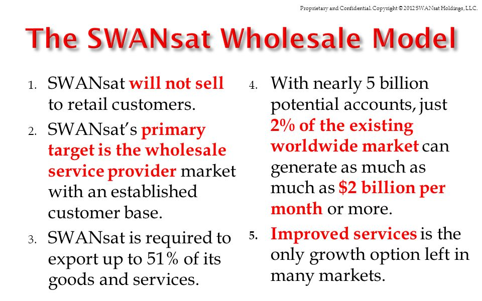 Proprietary and Confidential. Copyright © 2012 SWANsat Holdings, LLC. 1. SWANsat will not sell to retail customers. 2. SWANsats primary target is the