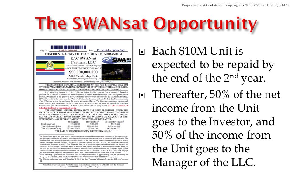 Proprietary and Confidential. Copyright © 2012 SWANsat Holdings, LLC. Each $10M Unit is expected to be repaid by the end of the 2 nd year. Thereafter,