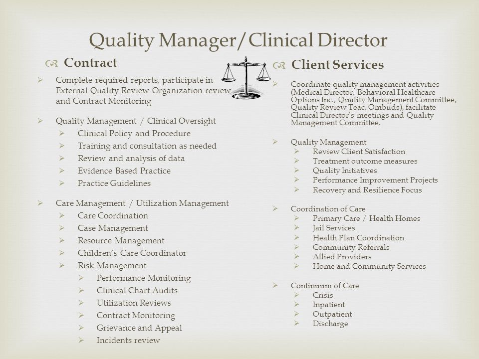 Coordinate quality management activities (Medical Director, Behavioral Healthcare Options Inc., Quality Management Committee, Quality Review Teac, Omb
