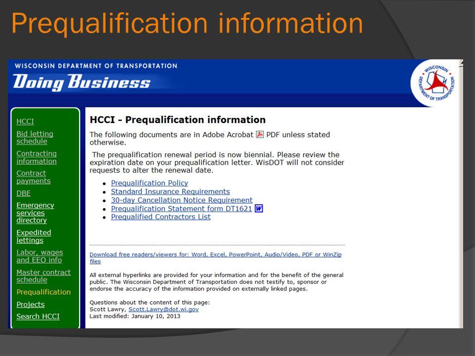 Prequalification information
